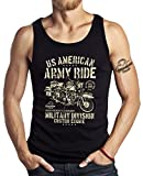 GASOLINE BANDIT US-Army Military Biker Tank Top: Army Ride-L