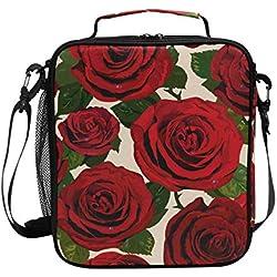 Lunchtasche mit roter Rosenpflanze, isoliert, Lunchbox, Kühler, Schultergurt, für Damen, Herren, Jungen, Mädchen, große Tragetasche für Schule, Büro