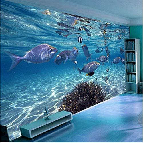 Guyuell 3D Wallpaper CartoonSubmarine World Marine Life Wandbild Kinder Schlafzimmer Aquarium Wohnzimmer Hintergrundtapetenwohnkultur-300Cmx210Cm