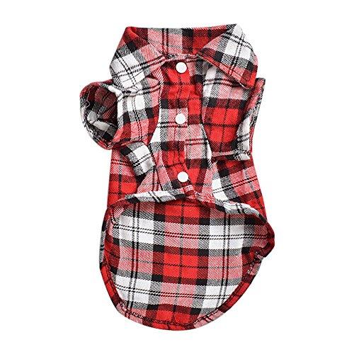 Bodhi2000®, camicia a quadri per animali domestici, cappottino per cucciolo di cane, maglietta, abbigliamento