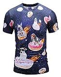 Pizoff Herren 3D Druck T-Shirt mit Krapfen Hund Muster