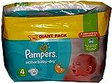 Pampers Activo Baby-Dry anti-leak pañales para día y noche Maxi talla 4(7–14kg) Mega, caja de 90