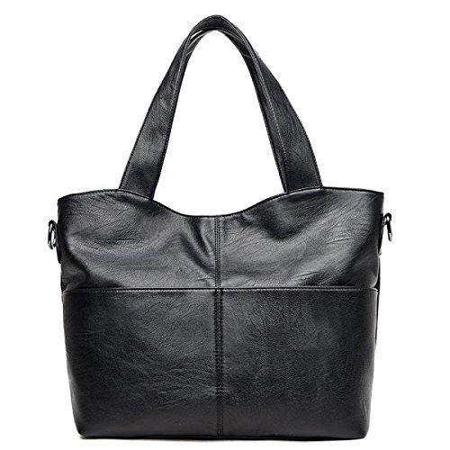 Yy.f Nagelneue Frauen Schulterbeutel Einfache Art Und Weise PU-Weichlederhandtaschen Big Bags 3 Farben Black