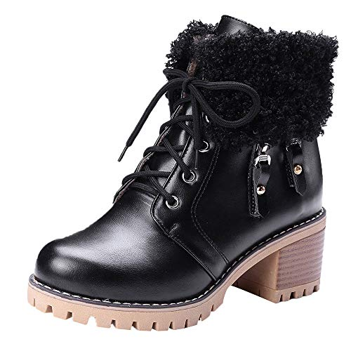 Bottes Hiver, Manadlian Bottines à Talons Haute 3CM Bottines Femme Rangers Fourrées Revers Fourrure en Simili Cuir Imperméables Boots Chaud Chaussures