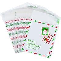 100 Piezas de Bolsa de Celofán de Regalo Autoadhesiva Bolsas de Dulces OPP de Navidad para Caramelos Galletas, 10 por 10 cm (Blanco)