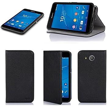 Etui luxe Sony Xperia E4g noir Slim Cuir Style avec stand - Housse coque de protection Sony Xperia E4g 4G/LTE (nouveau smartphone 2015) noire Dual Sim - Prix découverte accessoires pochette cover XEPTIO : Exceptional case !