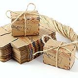 50 x Post Paket Motive Kraftpapier Geschenkbox Geschenkschachtel Kartonage Geschenkverpackung Cupcake Box Aufbewahrungsbox Gastgeschenk mit hessischer Band Hochzeit Party Tischdeko Vintage