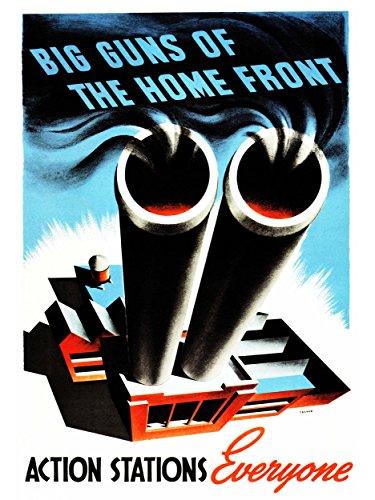 Wee Blue Coo LTD Propaganda War WWII USA Action Stations Chimney Industry Gun Canvas Print 2. Weltkrieg Vereinigte Staaten von Amerika (Gun-station)