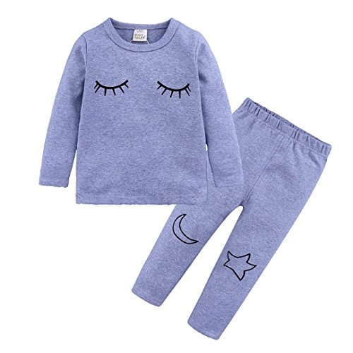 Prevently Boy Girl Pyjamas Cartoon Muster Kleinkind Baby Boy Girl Kind Drucken Top T-shirt Pyjamas 2-teiliges Set 80 90 100 110 120 130 (18-24 monate/90, grau) (21-puppe Muster Kleidung)