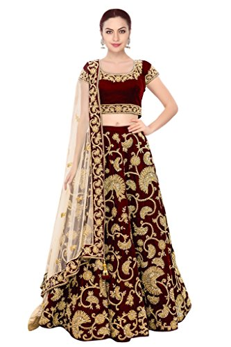 FabTexo Maroon Color Velvet & Net Semi_Stitched Lehenga Saree For Women (Navratri...