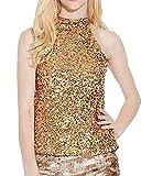 KUDICO Damen Weste Sommer Ärmelloses T-Shirt Schimmern Sie Auffällige Tanktops Alle Pailletten Verschönert Sparkle Bluse(Gold, EU-34)