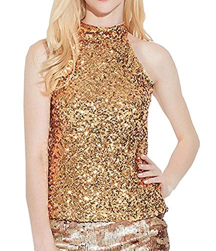 VEMOW Cool Damen Shimmer Flashy Alle Pailletten Sequin Verziert Karneval Party Freetime Sparkle Weste Tank Tops(Gold, Freie Größe)