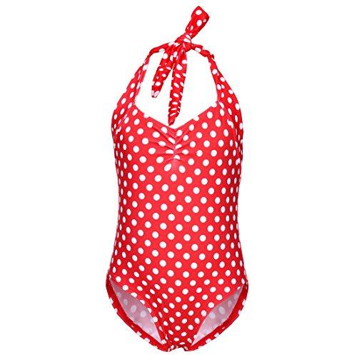 Polka Dot One Piece (Baby Kleinkind Mädchen weiß Polka Dot One Piece Bikini Bademode (Rot, 4-5 Years))