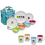 Farbenfrohe Kühltasche inklusive 16 teiligem Melamin Set Camper Smiles • Geschirrset Camping Geschirr Isoliertasche Picknicktasche