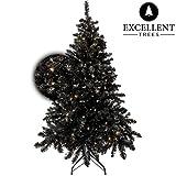 Künstlicher Weihnachtsbaum Tannenbaum Christbaum Schwarz Excellent Trees LED Stavanger Black 120 cm mit Beleuchtung, 160 Lämpchen beleuchtet