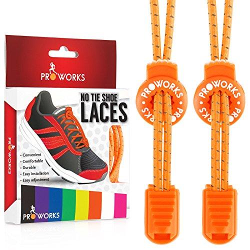 Proworks Lacets Sans Laçage | Elastique Lacets Pour Adultes e Enfants Baskets - Orange