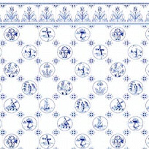 Melody Jane Puppenhaus blau-weiß Delft Holländisch Fliese Miniatur Druck 1:24 Maßstab Tapete (Miniatur-fliesen)