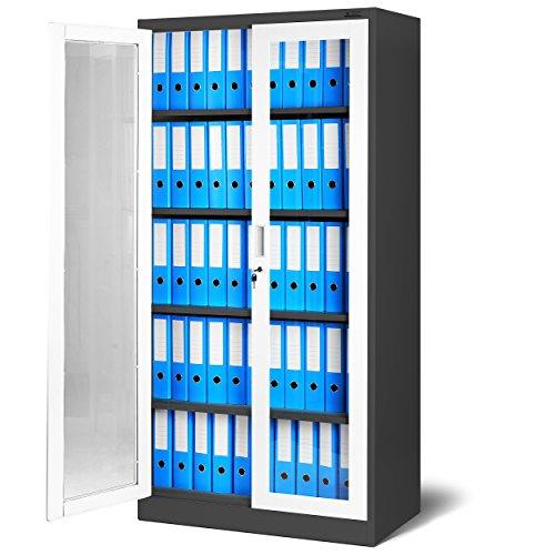 Glasschrank - Grosser Akten Glasschrank mit 2 Türen