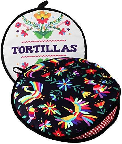 Beidseitig! Tortilla Warmer, Größe 27,9 cm, isoliert und mikrowellengeeignet, Stoffbeutel hält sie bis zu einer Stunde warm. Perfekter Halter für Mais und Mehl für alle Anlässe. von ENdeas Mais Server
