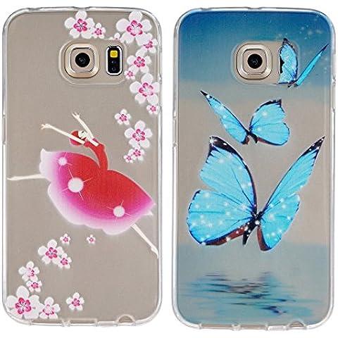 Funda Samsung Galaxy S6 Edge,ZXK Funda del Gel TPU silicona para Samsung Galaxy S6 Edge Carcasa Funda Case Transparente -Mariposa Azul + Chica