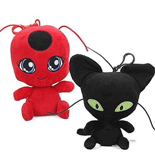2Pcs/Set Miraculous Ladybug Cat Plagg & Tikki Noir en Peluche Jouets Ladybug Poupée Adrien Marinette