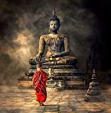 Tallenge - Fantasy Art -Young Monk And The Buddha - Unframed Rolled A3 Size Poster (11.6x11.6 inches)