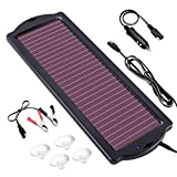 Solar Car Battery Trickle Charger, 12V 1.8W Solar Battery Charger Car, Waterproof Portable