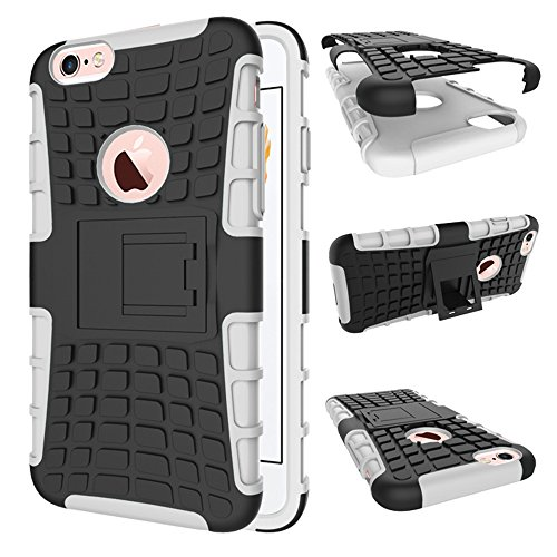 Nnopbeclik 2in1 Dual Layer Coque Iphone 6 Apple / Coque Iphone 6S Silicone [Pneus Texture Armor Séries] Protectrice Fine Et Élégante Rigide Backcover Incassable case pour Iphone 6 Coque Silicone / Iph argent