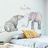 AWGSQ Sticker Mural Forêt Animal Grand Girafe Éléphant Arbre Stickers Muraux Enfants Sticker Pépinière Chambre Décor Affiche Murale B Éléphant Rhinocéros