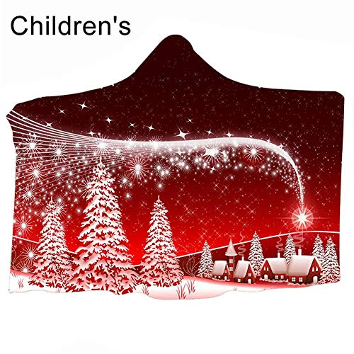 repude Christmas Style Blanket 3D Digital Printing Hooded Blanket Cloak Thickened Double-Layer Blanket Kissen