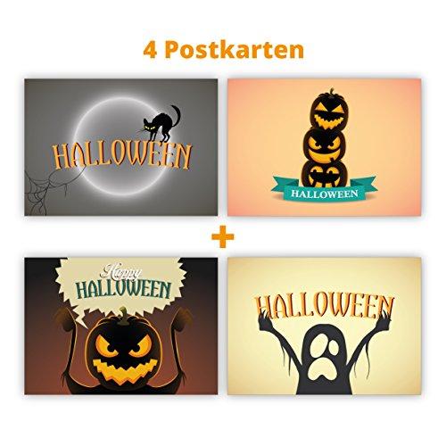 lloween Postkarten mit Geist, Katze, Kürbis und Vollmond zu Halloween: Halloween (Beste Geschnitzte Kürbisse Für Halloween)