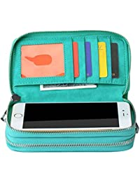 bangbo Premium piel sintética cremallera doble cartera bolso monedero Tarjeta Caso dinero organizador soporte para teléfono para teléfono celular iPhone 7/7Plus/se/6S/6Plus/5S y Samsung Galaxy S8/8Plus/S7/S6 verde
