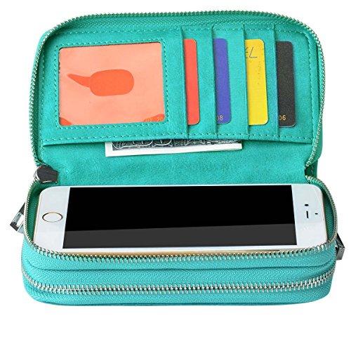 Bangbo Premium in pelle PU con doppia cerniera portafoglio borsetta borsa di denaro custodia organizzatore del supporto per telefono cellulare iPhone 7/7Plus/se/6s/6Plus/5S e Samsung Galaxy S8/8Plu Green