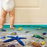 Indexp 3D Removable Bridge Sky Moon Beach Floor/Wall Sticker Vinyl Art Living Room Decors Decals (Style E)