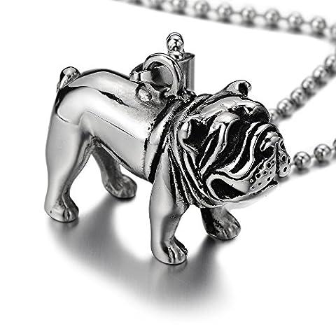 Pendentif Bouledogue Bulldog Pitbull - Acier Inoxydable Collier Pendentif Homme