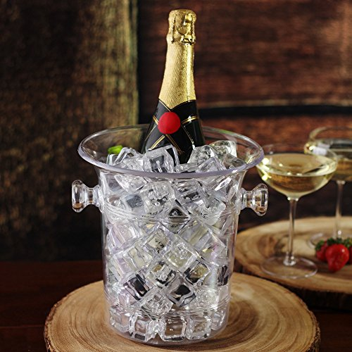 bar@drinkstuff Wein & Champagner Eimer transparent–Kunststoff Weinkühler mit Griffen