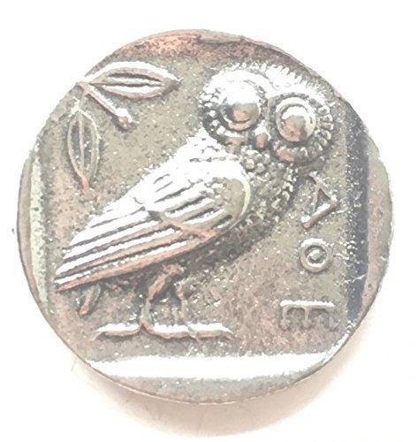 Kopie von einer Griechisch Eule Münze Zinn Revers Anstecknadel + 59mm knopf-abzeichen