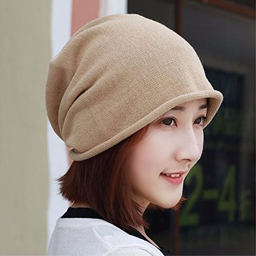 LIUXINDA-MZ Pure cotton hat, knitted hat, shaved head scarf cap and pregnant ear cap for men and women in spring,Brown/B