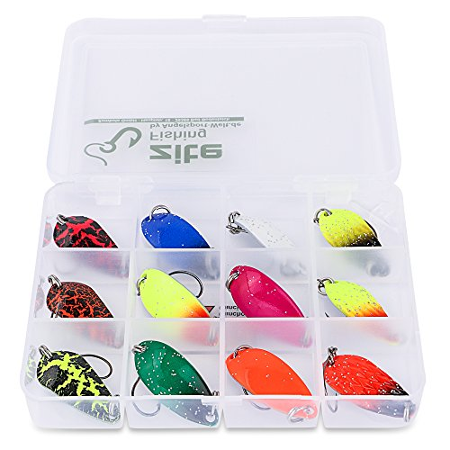 Zite Fishing Forellenblinker-Set 13-teilig - Trout Spoons Ultra Light Blinker 3g Bunt mit Einzelhaken in Köder-Box 2g-snap