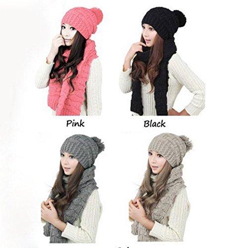 Da.Wa di lana sciarpe e cappello SET Donna Caldo moda grigio
