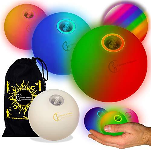 3x Glow jonglierbälle Leuchtend, Led Jonglierbälle 3er Set - Profi LED bälle+ Reisetasche! langsam verblassen -