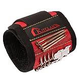 Magnetisches Armband, Kitclan Magnetarmband mit 5 starken Magneten, verstellbares Klettband zum Halten von Werkzeugen, Schrauben, Nägel, Schrauben, Bohren Bits und Kleinwerkzeuge usw. (1 Stück, Rot)