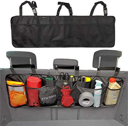 ZAROSO Kofferraum Organizer fürs Auto/KFZ Netztaschen, Klett Befestigung | Kofferraum Tasche mit Gepäcknetzen in Schwarz