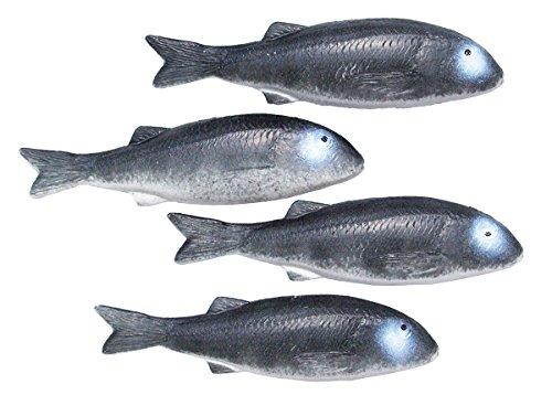 Kostüm Meeräsche - ERRO 4 Meeräschen grau Attrappen zur Schaufensterdeko - 13444, Fisch Nachbildung zur Deko, Maritime Dekoration, TV und Theater Requisite, Gastronomiebedarf