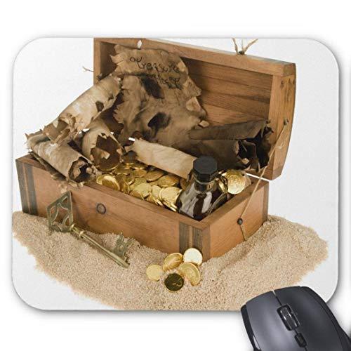 Anti-Rutsch-Mauspad aus Gummi, rechteckig, für Computer, Laptop, 20 x 24 cm, offene Nachbildung der Schatztruhe auf Sand Mauspad