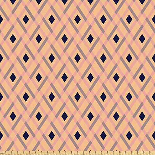 ABAKUHAUS Argyle Stoff als Meterware, Pastell-Rhomben-Linien, Microfaser Multi Zweck Dekostoff für Kunsthandwerke, 3M (160x300cm), Hellrosa Marineblau Pfirsich (Argyle Stoff)