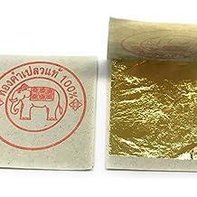 Lote de 20 hojas de oro 100% comestible, 35 x 35 mm, 24 quilates PUREZA