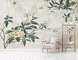 Fototapete 3D Effekt Tapete Hand Bemalten Blätter, Blumen, Vögel, Tv - Sofa Vliestapete 3D Wallpaper Moderne Wanddeko Wandbilder