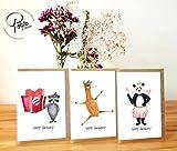 Geburtstagskarte Happy Birthday Tiere 3er Set - Handmade in Hamburg - 100% Recyclingpapier – Glückwunschkarten-Set mit Umschlag Geburtstag Geburtstagsgeschenk Geburtstagskarten Glückwunschkarte Grußkarte Einladung Geschenkkarte