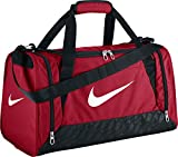 Nike Men's Brasilia 6 Duffel Bag - Red/Black/White, Small